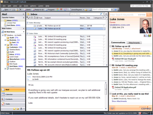 Coveo Outlook Sidebar