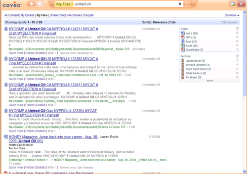 Coveo Expresso File Search Results