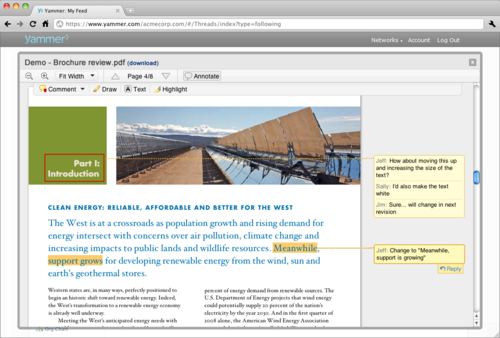 Yammer integration screenshot