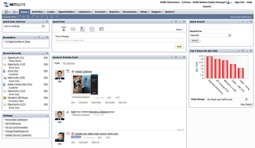 Activity feed and Quick post on Netsuite home page