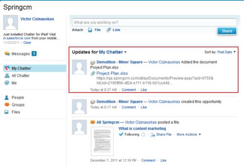 SpringCM Screen Shot Chatter Posting